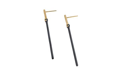 Deco Echo Long Bar Drop Earrings  - Sterling Silver