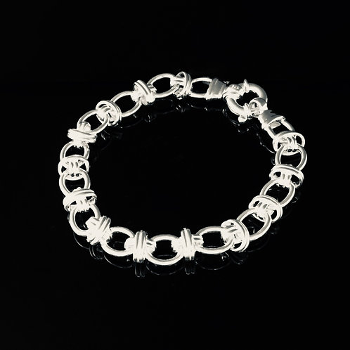 Fancy Solid Link Bracelet - Sterling Silver