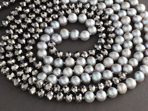 Long Grey Freshwater Pearls and Glass Beads