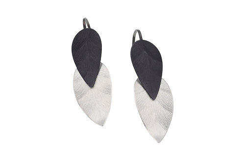 Deco Echo Double Leaf Drop Earrings - Sterling Silver