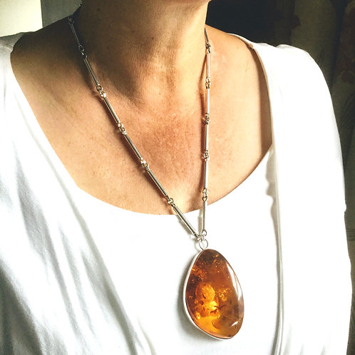 Large Statement Amber & Sterling Silver Pendant Necklace