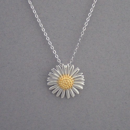Double Petal Daisy Necklace - Sterling Silver