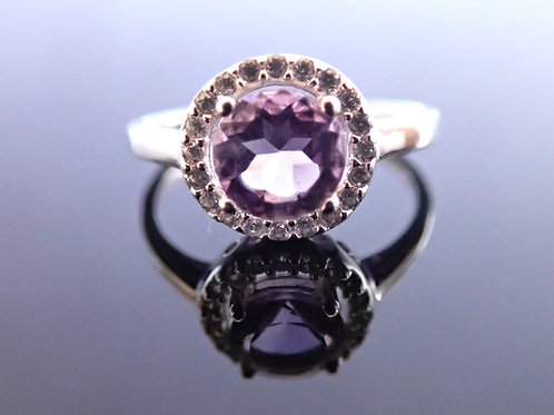 Amethyst Halo CZ Cluster Ring - Sterling Silver