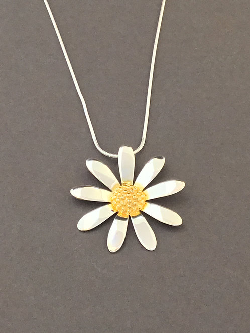 Large Daisy Necklace - Sterling Silver and Yellow Gold Plate Textured Cen