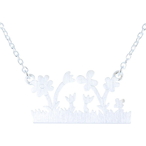 Window Box Flowers Necklace - Sterling Silver