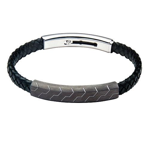 Gents Fused Magnetic Bracelet - Gunmetal & Black Leather