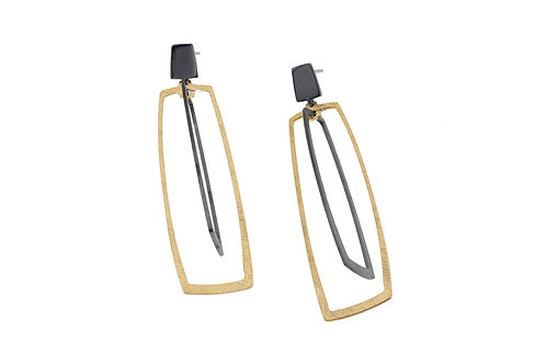 Deco Echo Rectangular Cage Drop Earrings - Sterling Silver