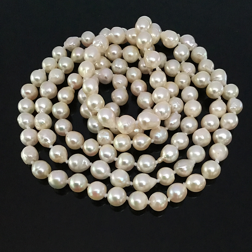 32 inch White Pearl Rope Necklace