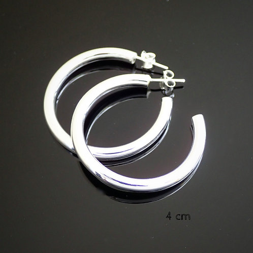 4cm Silver Hoop Earrings - Sterling Silver