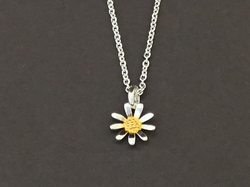 Small Daisy Necklace   - Sterling Silver and Yellow Gold Plate Textured