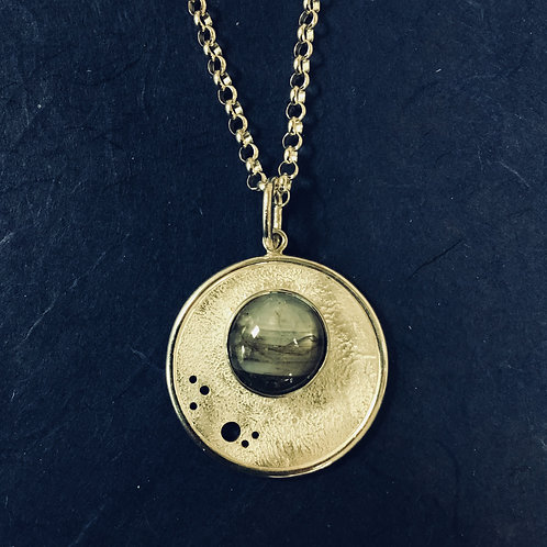Sapphire Planet in Space Setting - Sterling Silver