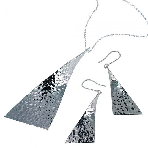 Large Sterling Silver Flag Sail Necklace