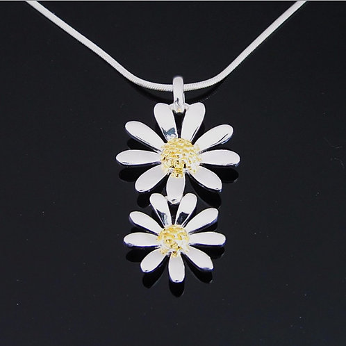 Double Daisy Necklace - Sterling Silver with Gold Vermeil