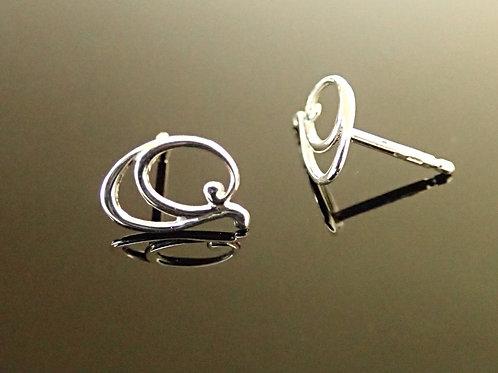 Ortak Double Swirl Stud Earrings - Sterling Silver