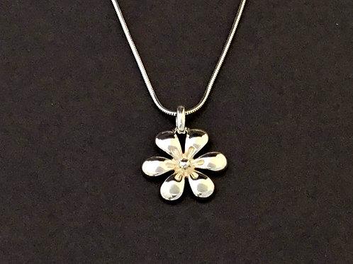 Six Petal Flower Necklace   - Sterling Silver