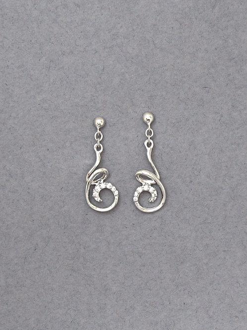 CZ Sterling Silver Curly Wire Drop  Earrings