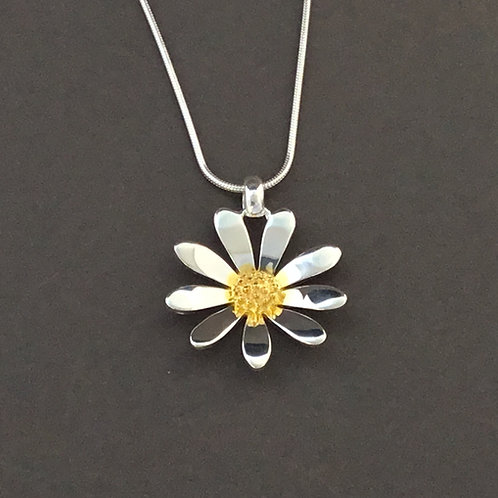 2.5cm Daisy Necklace   - Sterling Silver and Yellow Gold Plate Textured Centre