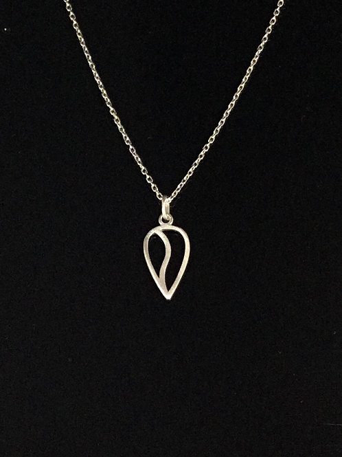 Open Tulip Necklace - Sterling Silver