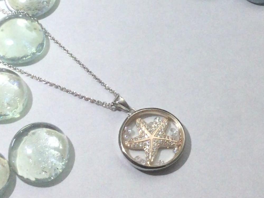 starfish cz waterproof capsule necklace Astra Jewellery