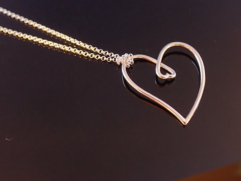 Valentine heart necklace heart in heart silver gift present contemporary