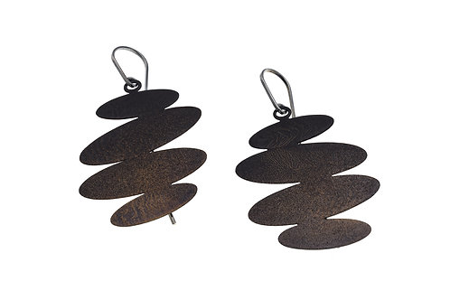 Deco Echo Stacked Pebble Earrings - Sterling Silver