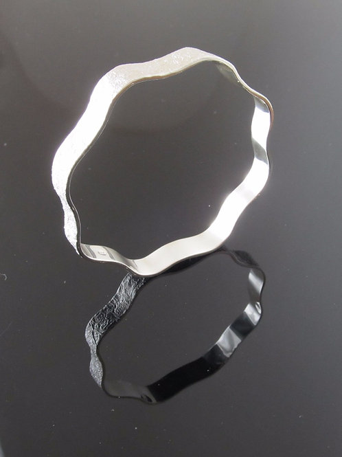 Chris Lewis contemporary wavy bangle in sterling silver