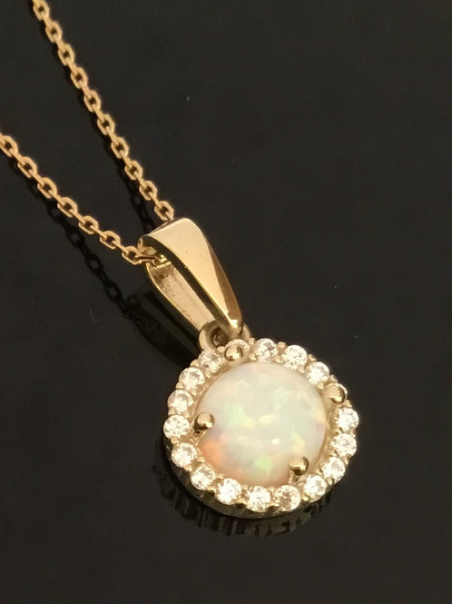 Opal Cluster Necklace - 9ct Yellow Gold