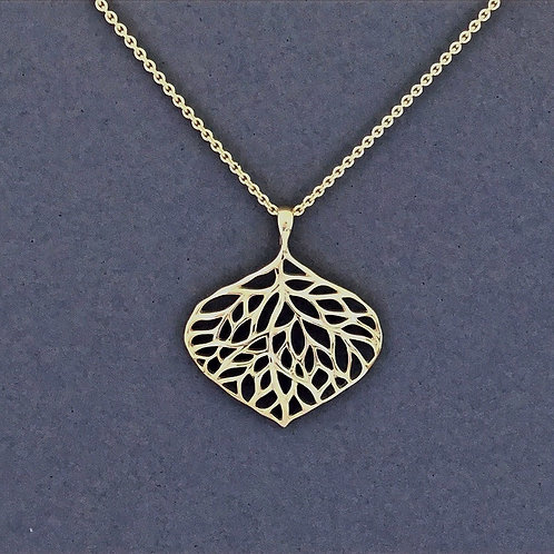 Open Leaf Necklace on Long Chain- Sterling Silver
