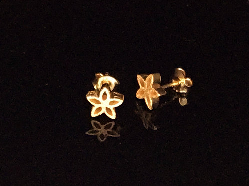 Glanzpunkt Flower Earrings  - Silver with Yellow Gold Plate