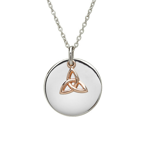 Disc Pendant with Hanging Trinity Knot Charm