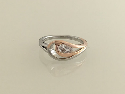 Ring-Sterling silver with CZ & rose gold plating