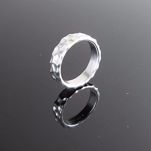 sterling silver ring with a contemporary hammered texture