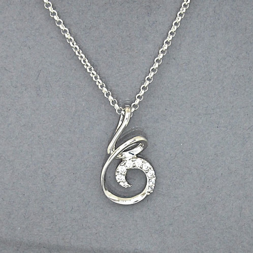 CZ Sterling Silver Curly Wire Loop Necklace