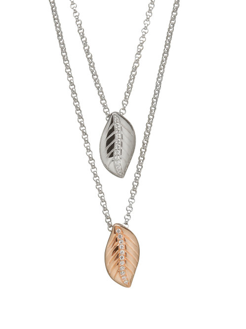 House of Lor Irish Rose Gold and Silver Double Leaf Pendant