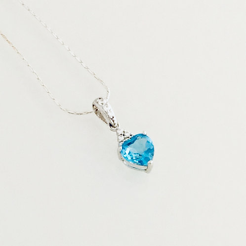 Blue Topaz and CZ's Heart Necklace - Sterling Silver