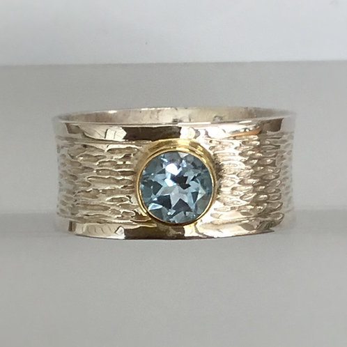Blue Topaz Wide Textured Ring - Sterling Silver