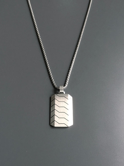 Dog Tag Style Necklace - Steel