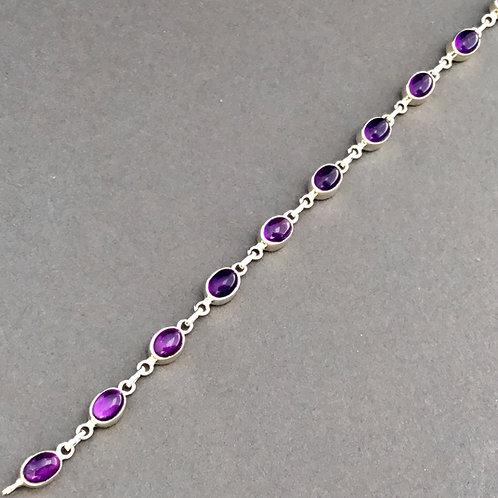 Amethyst Cabochon Bracelet  - Sterling Silver
