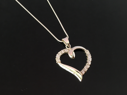 Heart Necklace Pendant valentines love gift girlfriend wife present silver