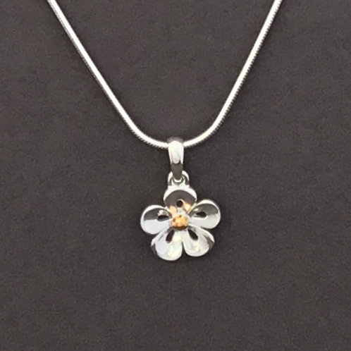 Lace Petal Flower Necklace   - Sterling Silver and Yellow Gold Plate