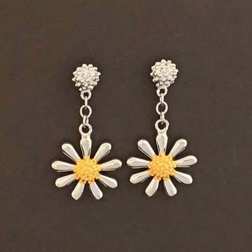 Daisy Drop Earrings 12mm - Sterling Silver with Gold Plate Centres