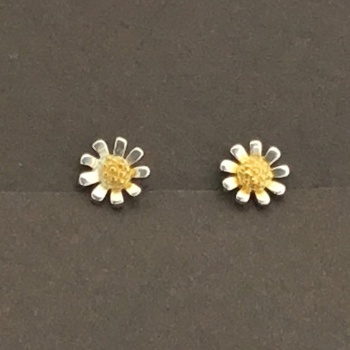 Daisy Earrings 6mm - Sterling Silver with Gold Plate Textured Centre