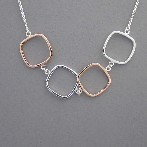 Open Square Hoop Necklace- Sterling Silver