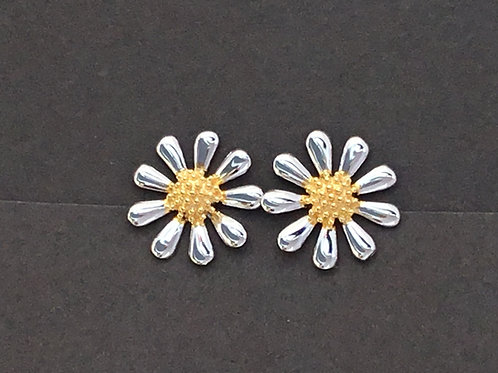 Daisy Earrings 13mm - Sterling Silver with Gold Plate Centres