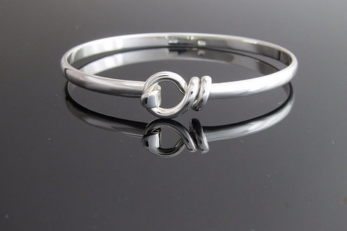 sterling silver bangle with round loop & hook decoration