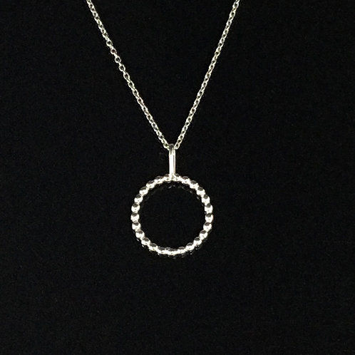Ball Circle Necklace - Sterling Silver