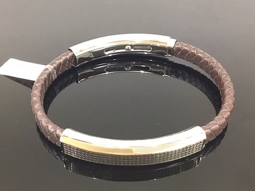 Brown Leather Strap with Steel