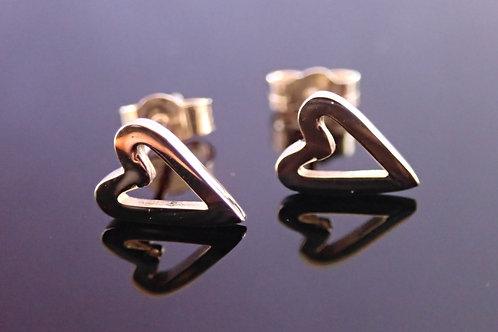 valentine gold heart stud earrings, open heart