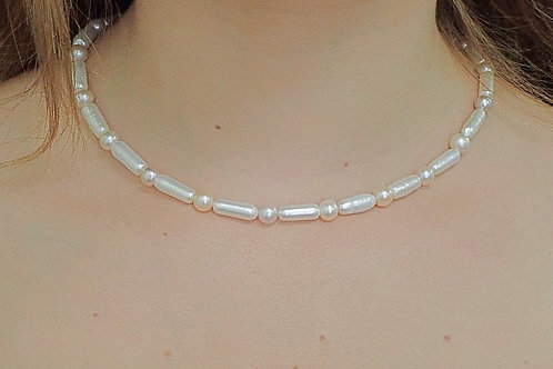 White & Peach Fresh Water Pearls  - Sterling Silver Clasp