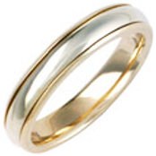 18ct Two Colour Wedding Ring - With Titanium Inlay - Ladies